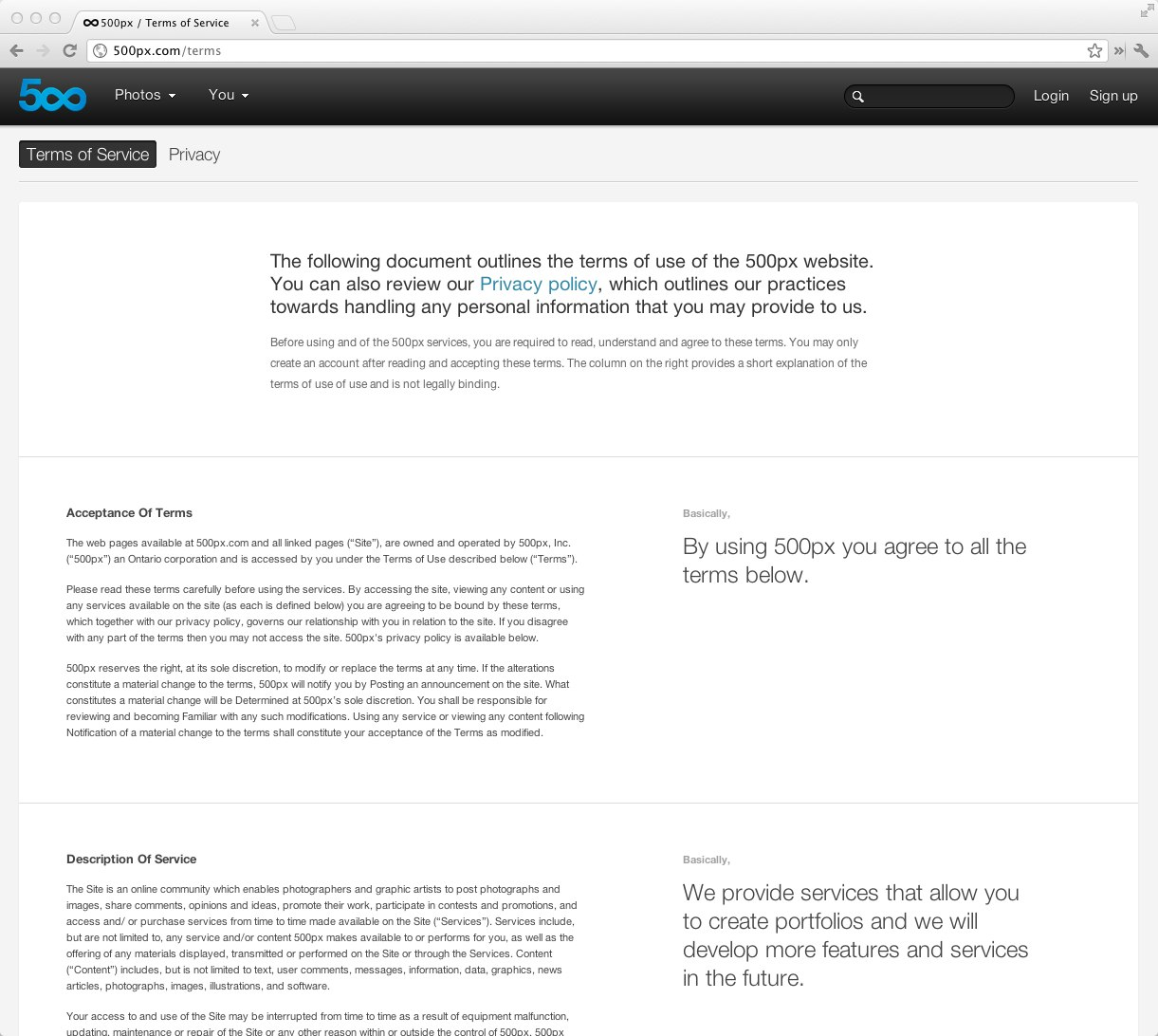 500px terms and conditions page