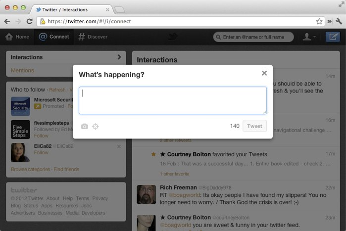 Twitter new post dialogue box