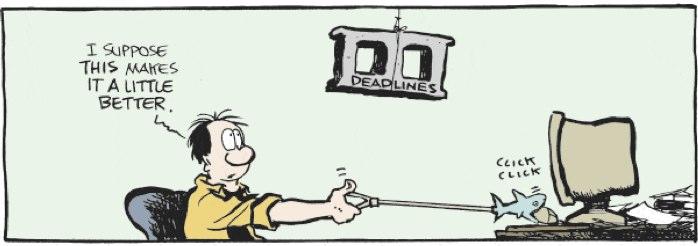 Cartoon of web designer suffering from impending deadline
