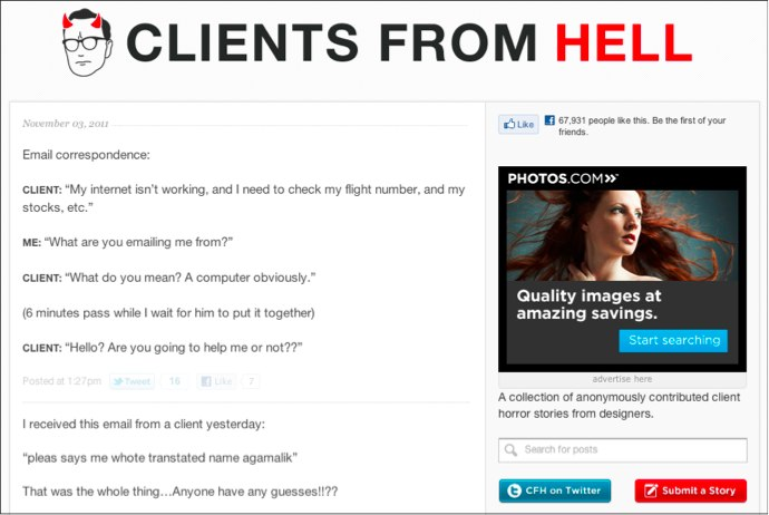 Clients from Hell website