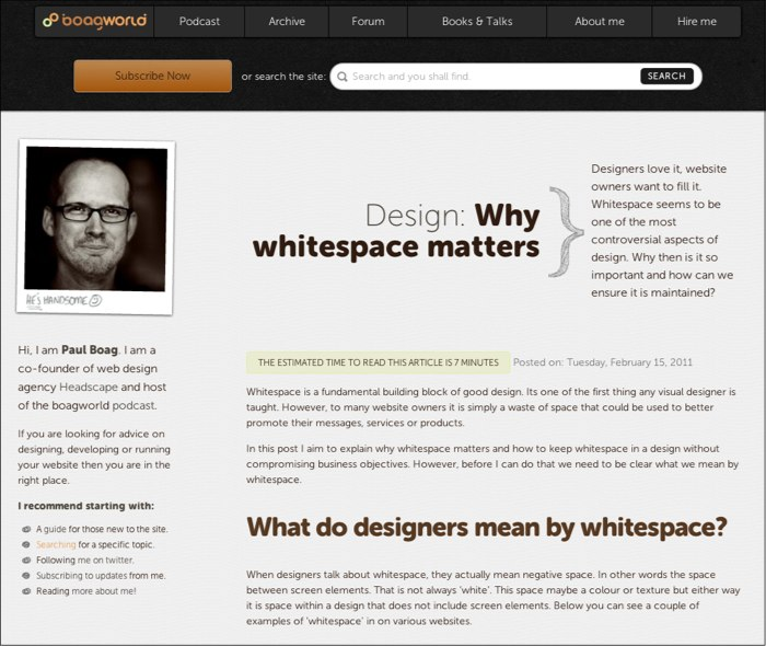 Post from boagworld that talks about whitespace
