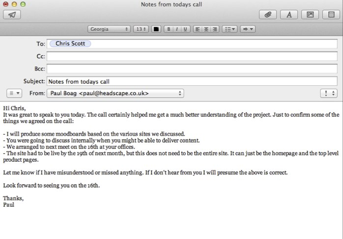 Example email to client