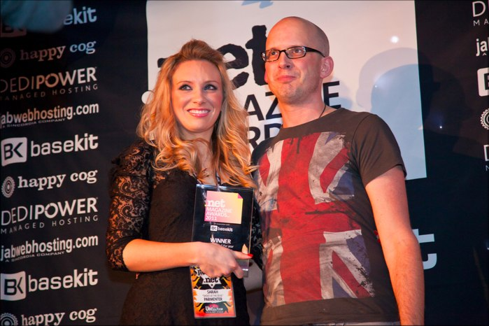 Photo of me and Sarah Parmenter at .net awards