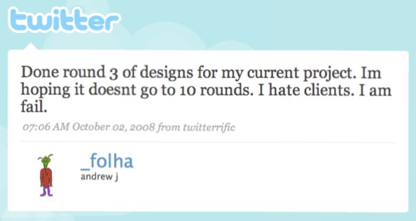 Tweet from web designer talking about endless iterations