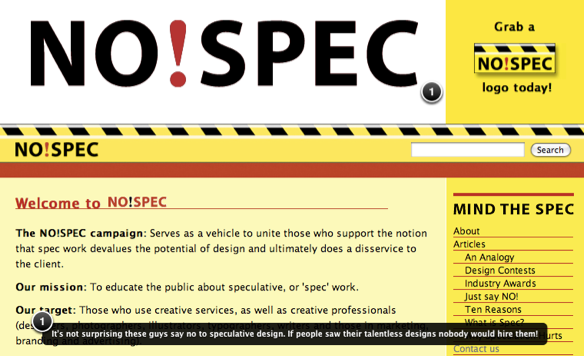 Screenshot of no-spec.com