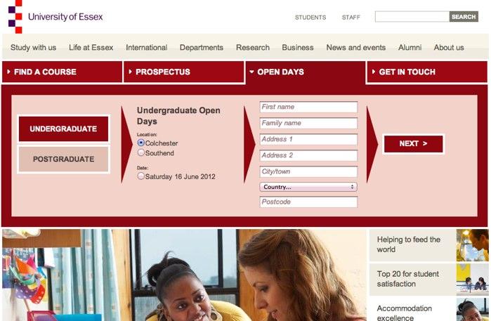 University of Essex slide down panels