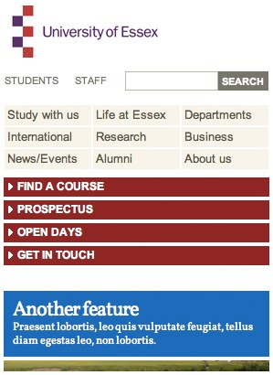 University of Essex mobile device header