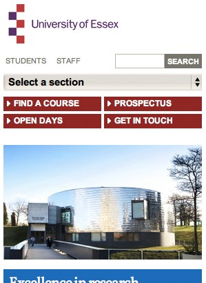 University of Essex mobile device header using drop-downs