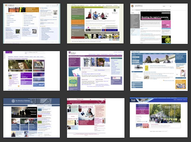 Examples of Higher Education websites all looking the same