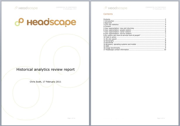 An example of the Analytics review