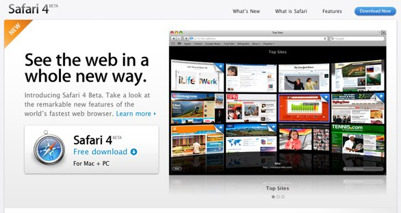 Safari 4 homepage