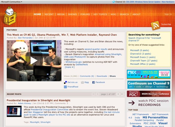 Screenshot of Microsoft's Channel 9 website