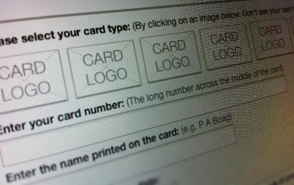 Credit card type selection option