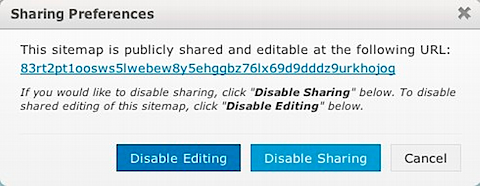 Screen capture of writemap's sharing preference window