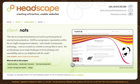 Screenshot of Headscape website with Javascript disabled