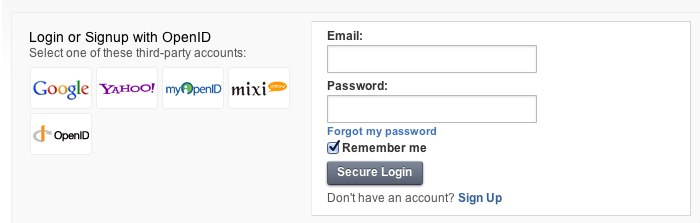 Login screen with social network login options