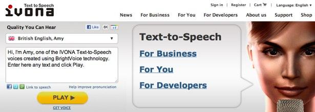 Ivona text to speech service