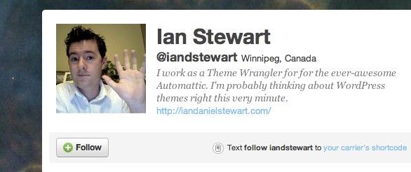 Ian Stewart's twitter page