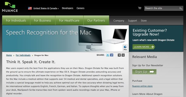 Dragon Dictate for the Mac website