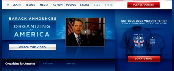 Obama fundraising website call to action
