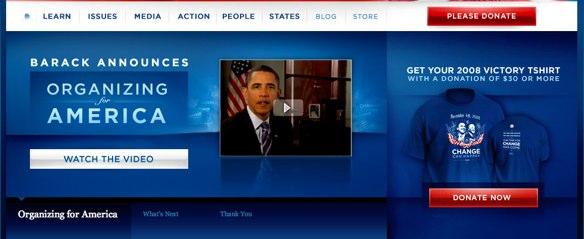 Obama fundraising website