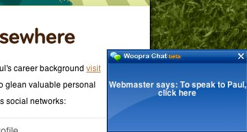 Woopra popup chat message