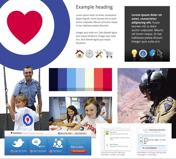 Example of a moodboard we produced for RAFBF