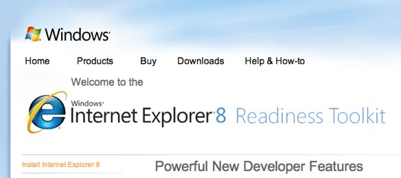 Screenshot of the IE8 Readiness toolkit