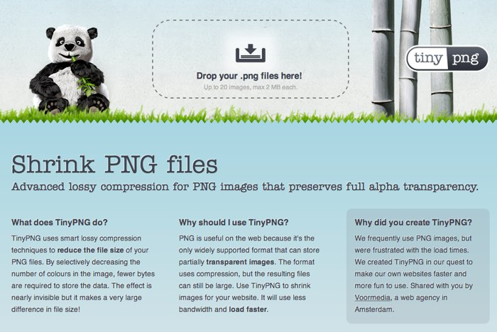 Screen capture of TinyPNG website