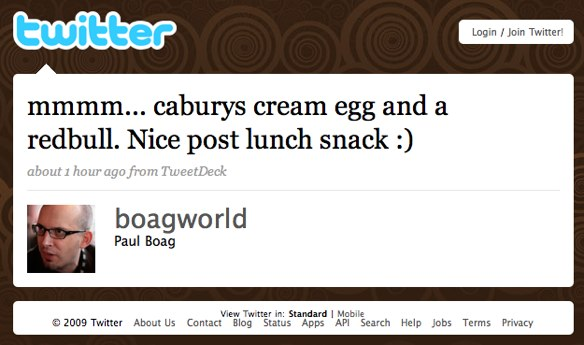 Twitter message from Boagworld: mmm... caburys cream egg and redbull. Nice post lunch snack