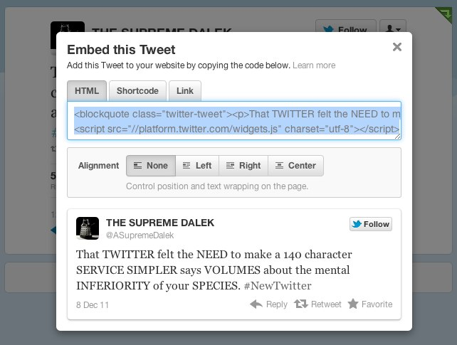 The embed tweet dialogue box.