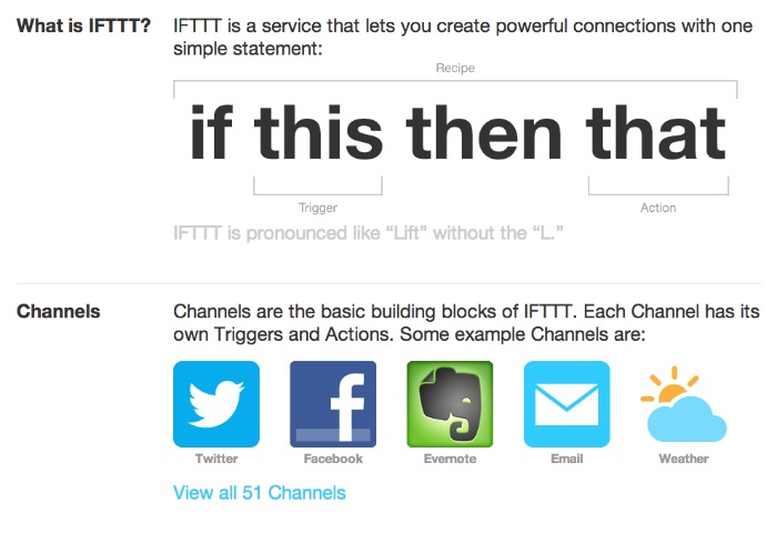 Explanation of IFTTT from their website