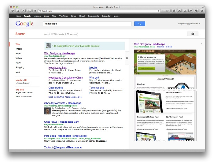 Headscape listings on Google