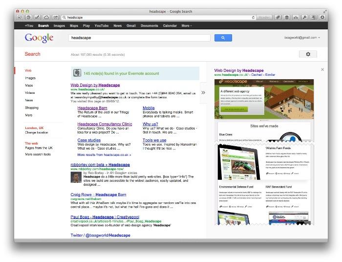 Headscape listings on Google