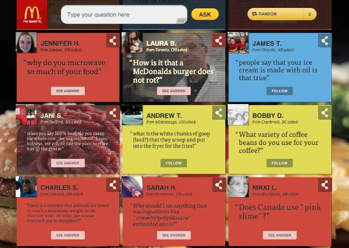 Your questions website from McDonalds Canada