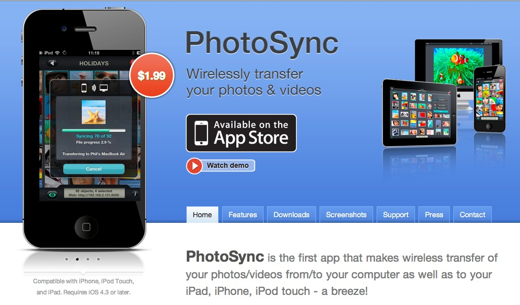 Photosync homepage