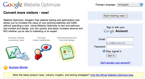 Google Website Optimizer