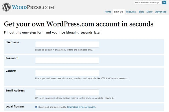WordPress signup process