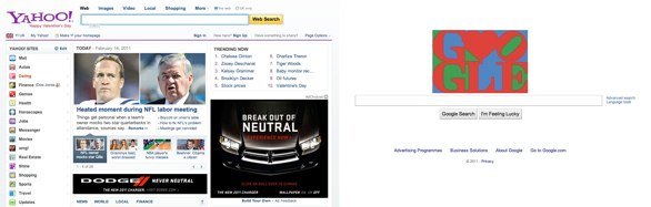 Image of the Yahoo and Google homepage side by side