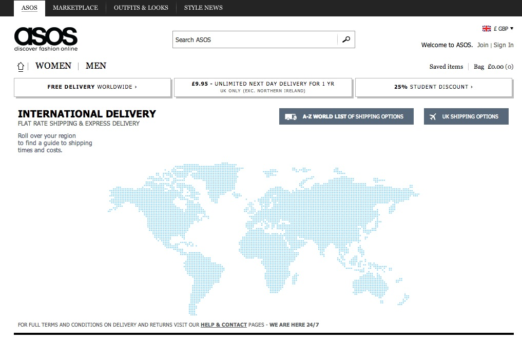 ASOS delivery information