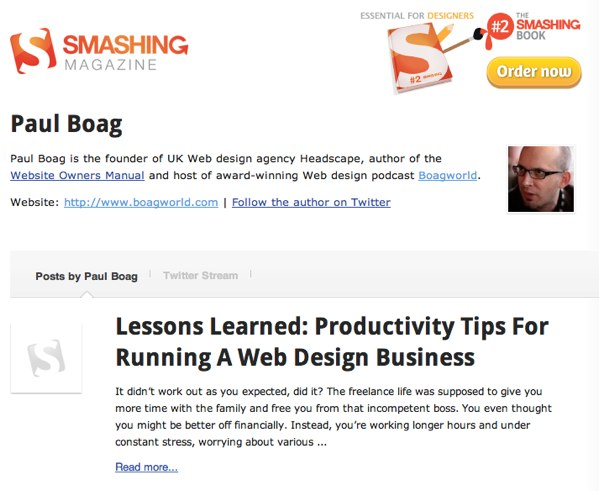Smashing Magazine Author Pages