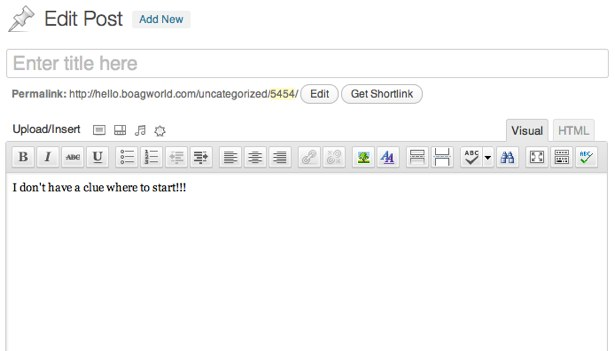 A blank wordpress document