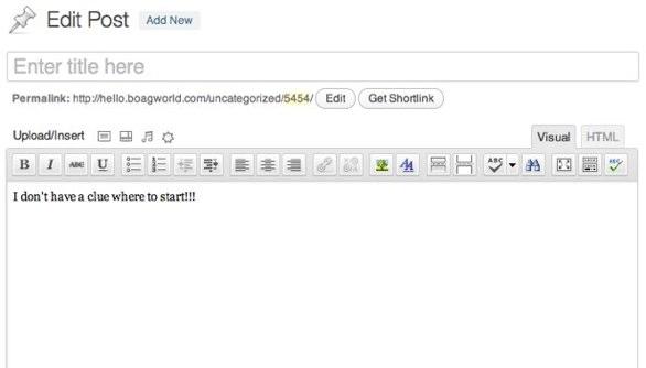 Wordpress compose post window