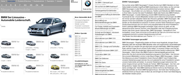 Example of how BMW used keyword stuffing and redirects