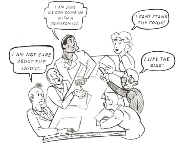 cartoon of a dysfunctional committee