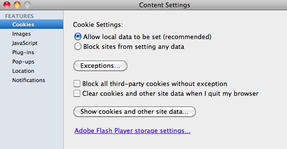 Browser cookie controls