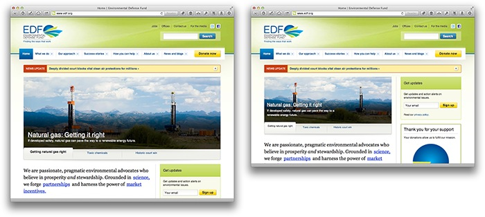 Screenshots of EDF.org at different screen sizes