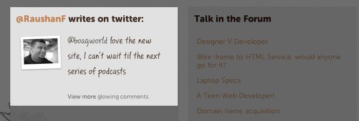 User tweets displayed on boagworld homepage
