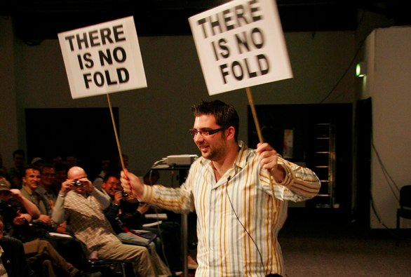 Drew Mclellan holding a there is no fold banner