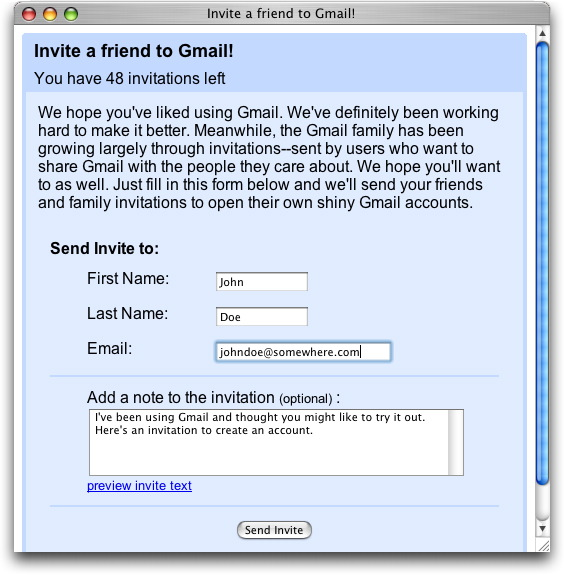 Gmail invite
